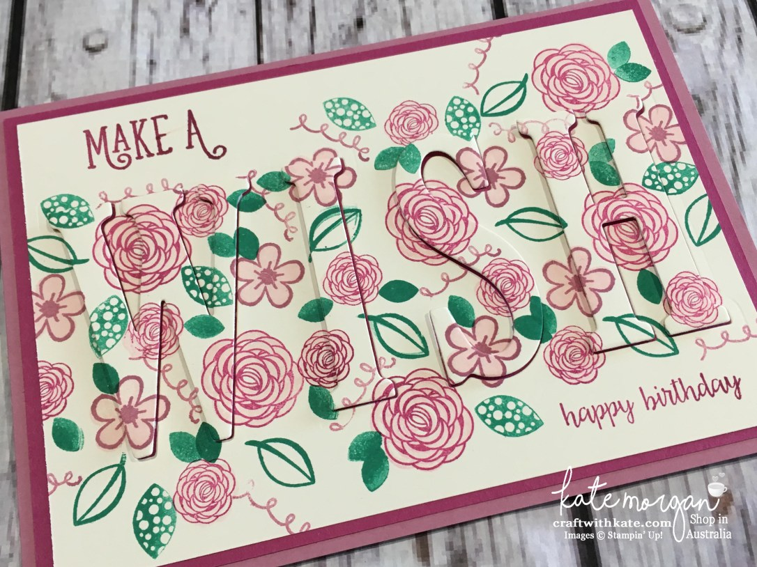 Eclipse card using Stampin Ups Large Letters dies & Happy Birthday Gorgeous stamp set by Kate Morgan, Independent Demonstrator Australia 2017