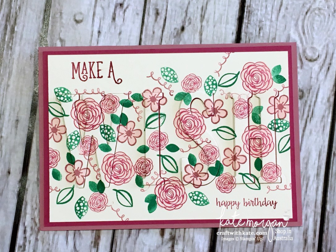Eclipse card using Stampin Ups Large Letters dies & Happy Birthday Gorgeous stamp set by Kate Morgan, Independent Demonstrator, Australia 2017