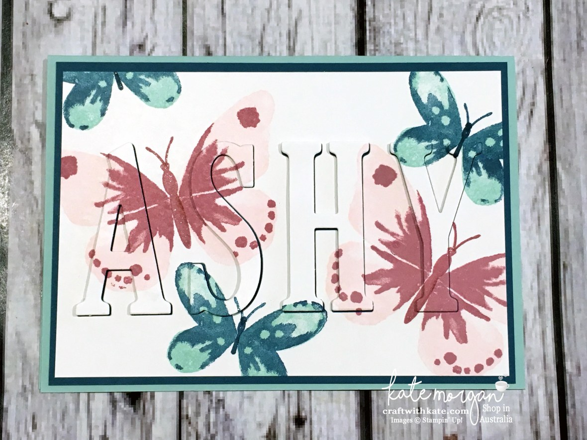 Eclipse card using Stampin Ups Large Letters dies & Watercolour Wings stamp set by Kate Morgan, Independent Demonstrator Australia 2017 DIY