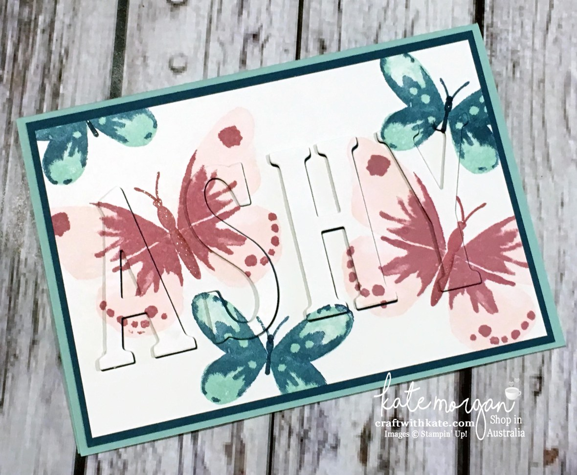 Eclipse card using Stampin Ups Large Letters dies & Watercolour Wings stamp set by Kate Morgan, Independent Demonstrator Australia 2017