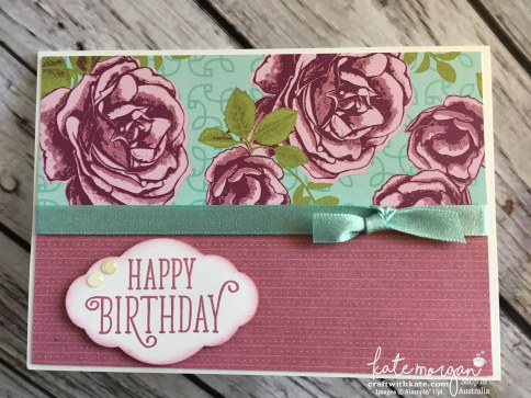 Feminine Birthday card using Stampin Ups Petal Garden DSP by Kate Morgan, Independent Demonstrator, Australia