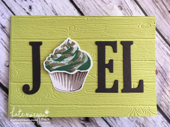 Masculine birthday card using Stampin Ups Large Letters dies & Sweet Cupcake stamp set by Kate Morgan, Independent Demonstrator Australia 2017