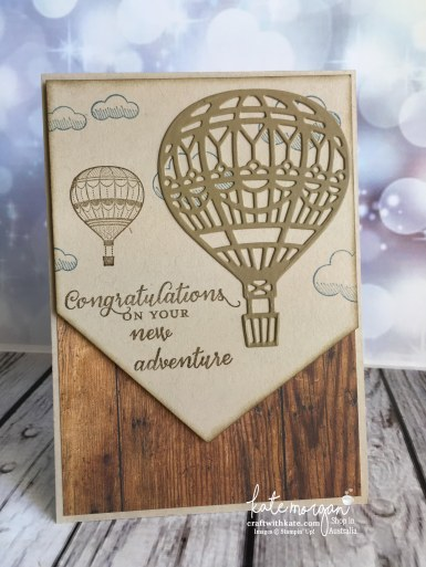 Masculine card using Stampin Ups Lift Me Up, Up & Away dies & Wood Textures DSP by Kate Morgan, Independent Demonstrator, Australia