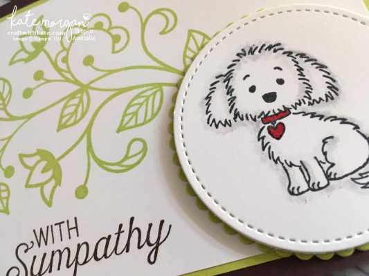 Sympathy card for a pet using Stampin Ups Bella & Friends, Flourishing Phrases by Kate Morgan, Independent Demonstrator, Australia Dog