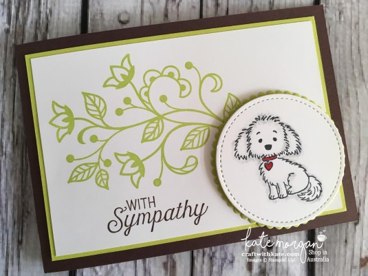 Sympathy card for a pet using Stampin Ups Bella & Friends, Flourishing Phrases by Kate Morgan, Independent Demonstrator, Australia