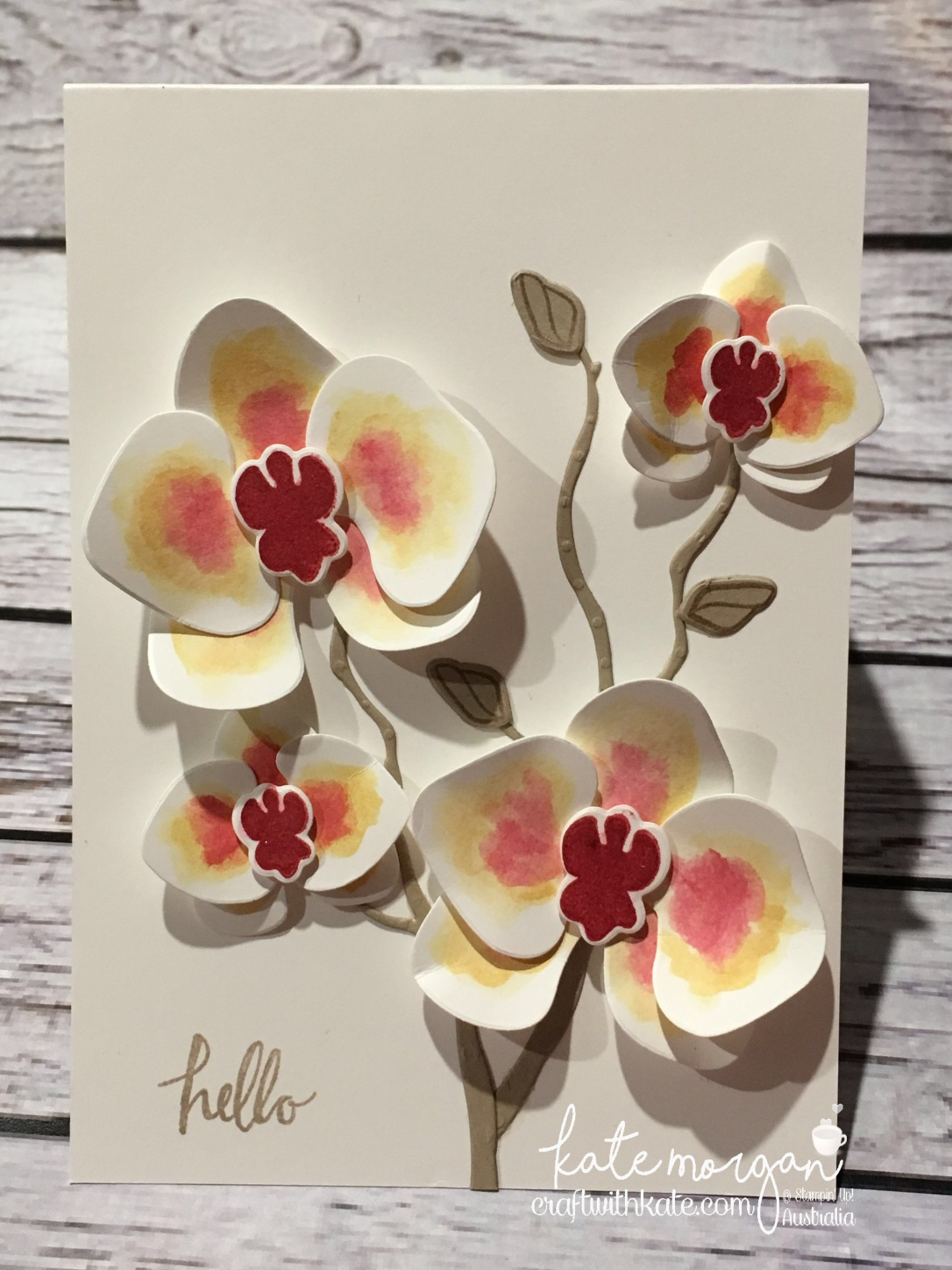 Watercolour Climbing Orchid card by Kate Morgan Stampin Up Demonstrator, Australia