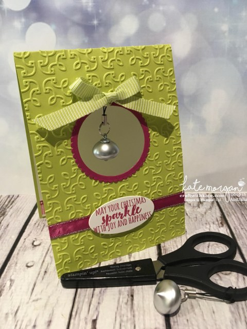 Christmas Card with Scissor Bling using Stampin Up Mini Ornaments Embellishments by Kate Morgan, Independent Demonstrator, Australia DIY