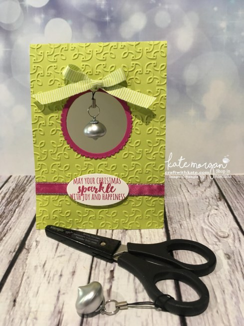 Christmas Card with Scissor Bling using Stampin Up Mini Ornaments Embellishments by Kate Morgan, Independent Demonstrator, Australia.