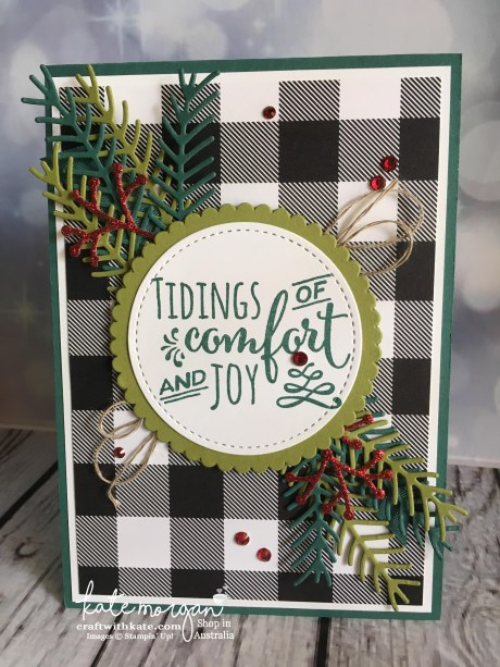 Christmas Pines Card for the Heart of Christmas Inspiration by Kate Morgan, Independent Demonstrator, Australia DIY #stampinup #cutitnothoardit