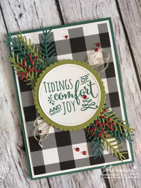 Christmas Pines Card for the Heart of Christmas Inspiration by Kate Morgan, Independent Demonstrator, Australia #stampinup