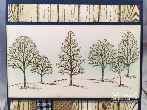 Masculine Farewell card using Stampin Up Lovely as a Tree, & Hardwood stamp with sponging by Kate Morgan, Independent Demonstrator, Australia DIY #stampinup
