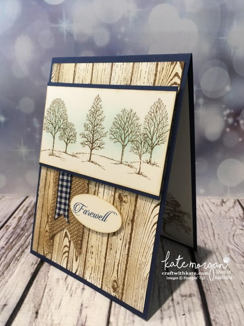 Masculine Farewell card using Stampin Up Lovely as a Tree, & Hardwood stamp with sponging by Kate Morgan, Independent Demonstrator, Australia #stampinup DIY