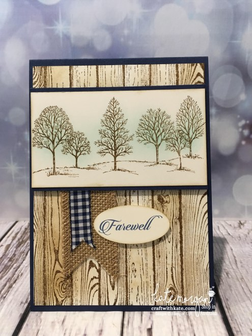 Masculine Farewell card using Stampin Up Lovely as a Tree, & Hardwood stamp with sponging by Kate Morgan, Independent Demonstrator, Australia #stampinup