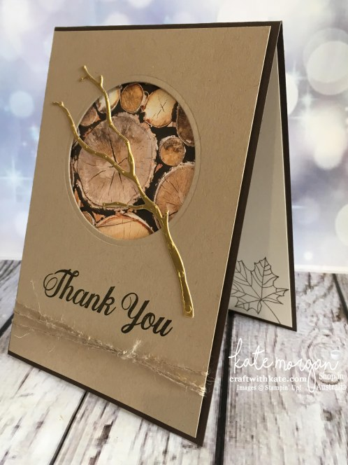 Masculine Thank You card using Stampin Up Seasonal Layers thinlits, Painted Harvest & Wood Textures DSP with copper by Kate Morgan, Independent Demonstrator, Australia DIY #stampinup #cu