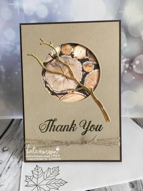 Masculine Thank You card using Stampin Up Seasonal Layers thinlits, Painted Harvest & Wood Textures DSP with copper by Kate Morgan, Independent Demonstrator, Australia #stampinup #cutitn
