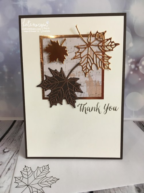 Masculine Thank You card using Stampin Up Seasonal Layers thinlits & Wood Textures DSP by Kate Morgan, Independent Demonstrator, Australia #stampinup #cutitnothoardit DIY