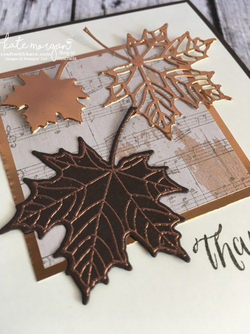Masculine Thank You card using Stampin Up Seasonal Layers thinlits & Wood Textures DSP with copper by Kate Morgan, Independent Demonstrator, Australia DIY #stampinup #cutitnothoardit