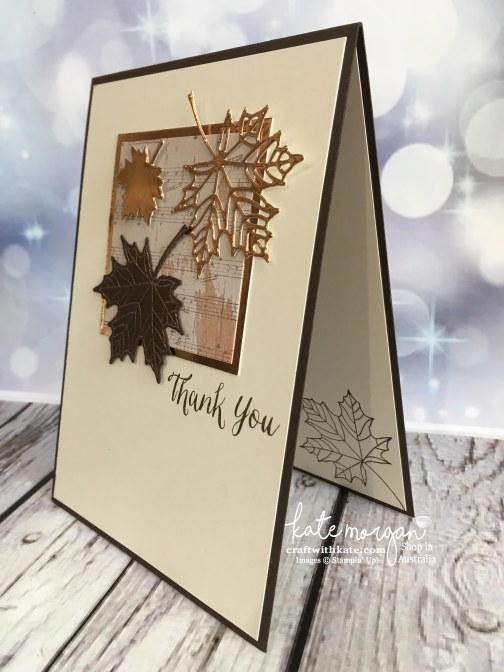 Masculine Thank You card using Stampin Up Seasonal Layers thinlits & Wood Textures DSP with copper by Kate Morgan, Independent Demonstrator, Australia #stampinup DIY #cutitnothoardit