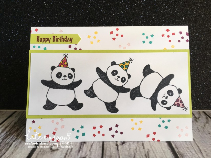 Party Pandas cartwheeling by Kate Morgan, Independent Stampin Up Demonstrator, Australia. Kids Birthday.jpg