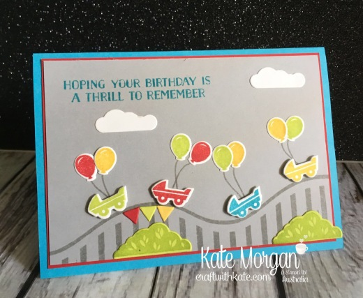 Roller Coaster card using Stampin Up Let the Good Times Roll & Thrill Ride Popup thinlits by Kate Morgan, Independent Demonstrator Australia