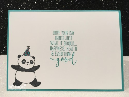 Birthday card using Stampin Ups Party Pandas & Special Celebrations, Saleabration 2018 by Kate Morgan, Independent Demonstrator, Australia. Inside