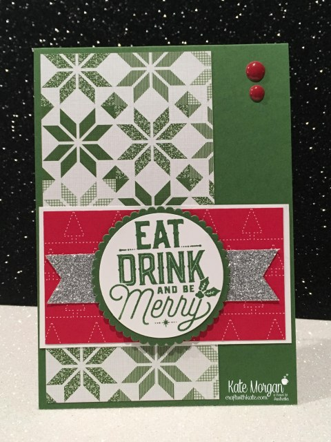 Christmas card using Stampin Ups Merry Little Labels & Quilted Christmas DSP by Kate Morgan, Independent Demonstrator, Australia. DIY #cutitnothoardit