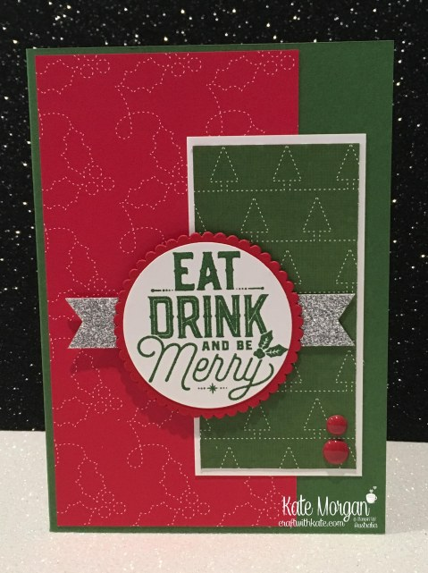 Christmas card using Stampin Ups Merry Little Labels & Quilted Christmas DSP by Kate Morgan, Independent Demonstrator, Australia. DIY.