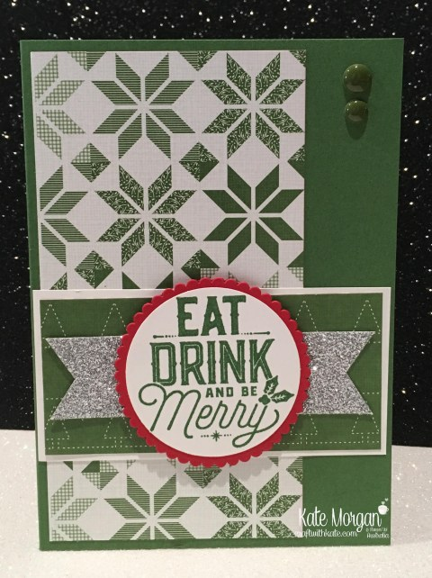 Christmas card using Stampin Ups Merry Little Labels & Quilted Christmas DSP by Kate Morgan, Independent Demonstrator, Australia DIY