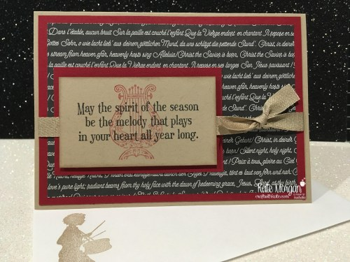 Christmas card using Stampin Ups Musical Season Bundle & Merry Music DSP by Kate Morgan, Independent Demonstrator, Australia. DIY