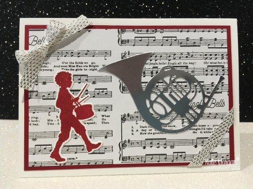 Christmas card using Stampin Ups Musical Season Bundle & Merry Music DSP by Kate Morgan, Independent Demonstrator, Australia.