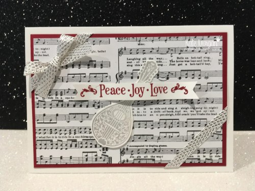 Christmas card using Stampin Ups Musical Season Bundle & Merry Music DSP by Kate Morgan, Independent Demonstrator, Australia