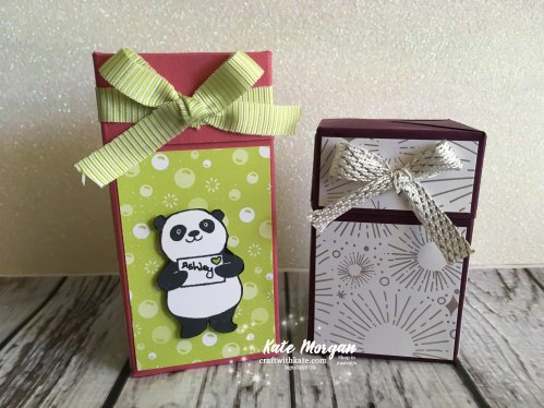 Impossible Gift Box using Stampin Up Party Pandas by Kate Morgan, Independent Demonstrator, Australia 3D DIY.