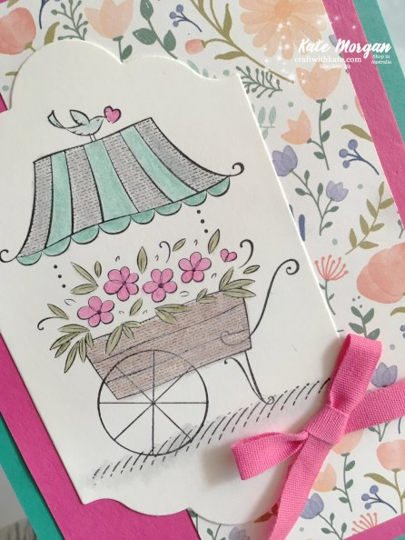 Friendship's Sweetest Thoughts Stampin Up by Kate Morgan, Independent Demonstrator Australia Feminine Handmade card Delightful Daisy DSP