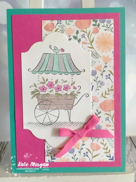 Friendship's Sweetest Thoughts Stampin Up by Kate Morgan Independent Demonstrator Australia Feminine Handmade card Delightful Daisy DSP