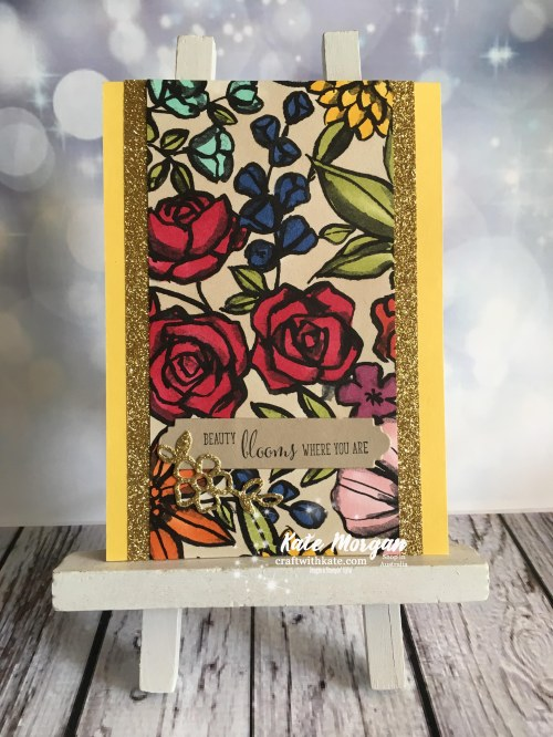 Petal Passion DSP with Stampin Blends Stampin Up by Kate Morgan Independent Demonstrator Australia Feminine Handmade card