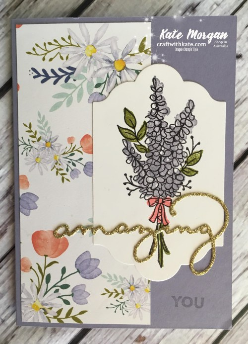 Stampin Ups Lots of Lavender, Amazing You, Celebrate you thinlits dies, Delightful Daisy DSP by Kate Morgan, Independent Demonstrator Australia #Occasions2018 #Saleabration2018