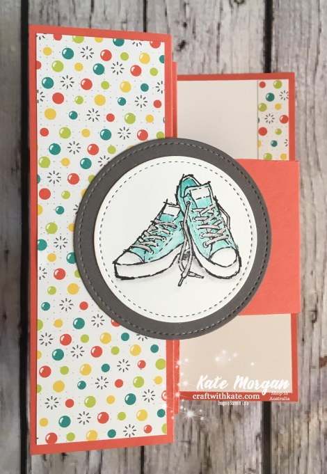 Trifold Shutter Card using Stampin Up Bubbles & Fizz DSP &Epic Celebrations, Saleabration 2018 by Kate Morgan, Independent Demonstrator, Australia.
