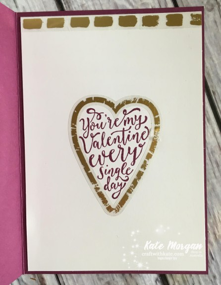 Valentine's Day card usingstampin Up Sure Do Love You bundle, Occasions 2018 by Kate Morgan, Independent Demonstrator, Australia inside