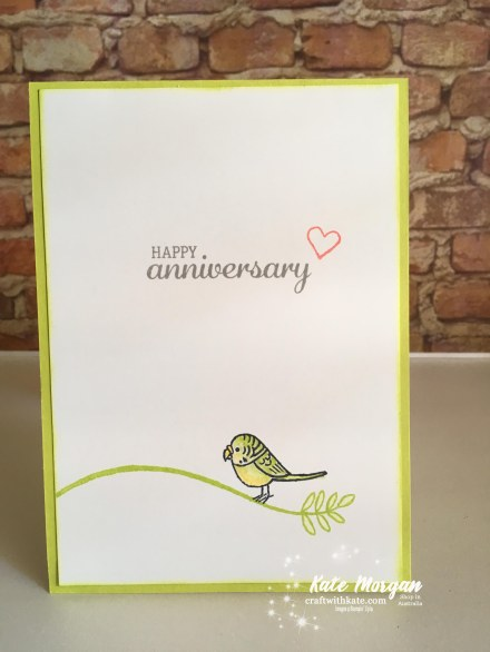 Bird Banter for our 12th Wedding Anniversary, Stampin Up Occasions 2018 by Kate Morgan, Independent Demonstator, Australia inside