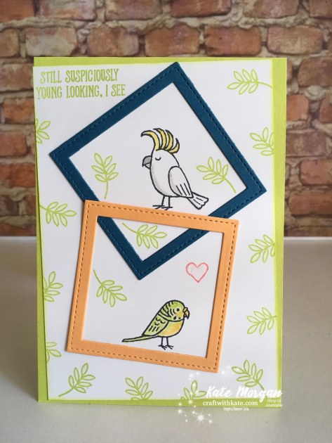 Bird Banter for our 12th Wedding Anniversary, Stampin Up Occasions 2018 by Kate Morgan, Independent Demonstator, Australia.