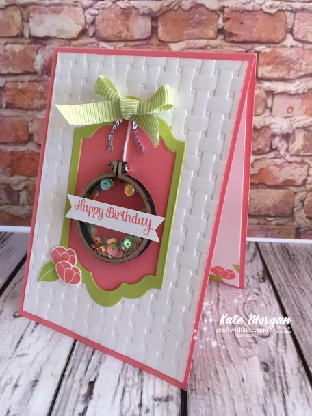 Embroidery hoop shaker card using Sweet Soiree, Basket Weave TIEF, Stampin Up Occasions 2018 by Kate Morgan, Independent Demonstator, Australia