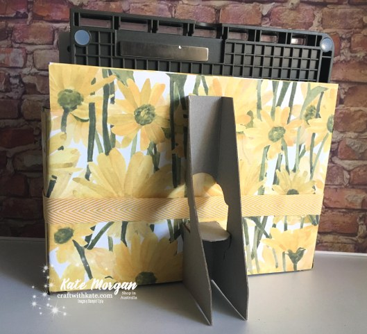 Stamparatus storage using Stampin Up Delightful Daisy DSP 2018 by Kate Morgan, Independent Demonstator Australia.