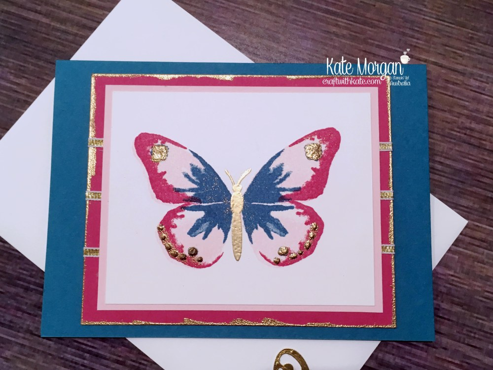 Butterfly card using retiring Stampin Up Watercolour Wings, Butterflies Thinlits by Kate Morgan, Australia..JPG