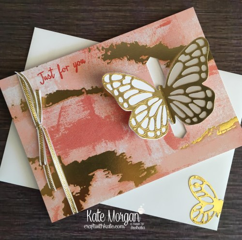 Butterfly card using retiring Stampin Up Watercolour Wings, Butterflies Thinlits, Painted with Love DSP by Kate Morgan, Australia.JPG
