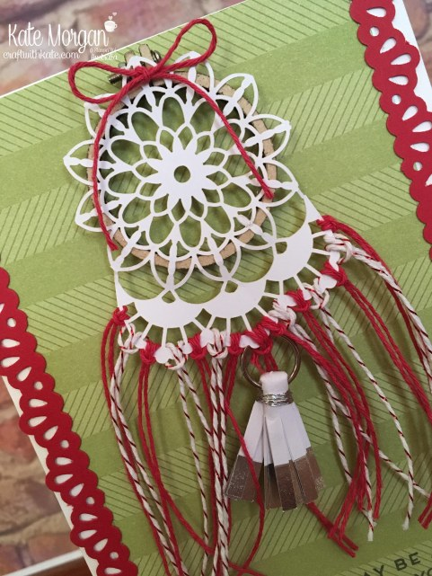 Dream Catcher card using Stampin Up Embroidery Hoop & Cake Soiree by Kate Morgan, Craft with Kate Australia.