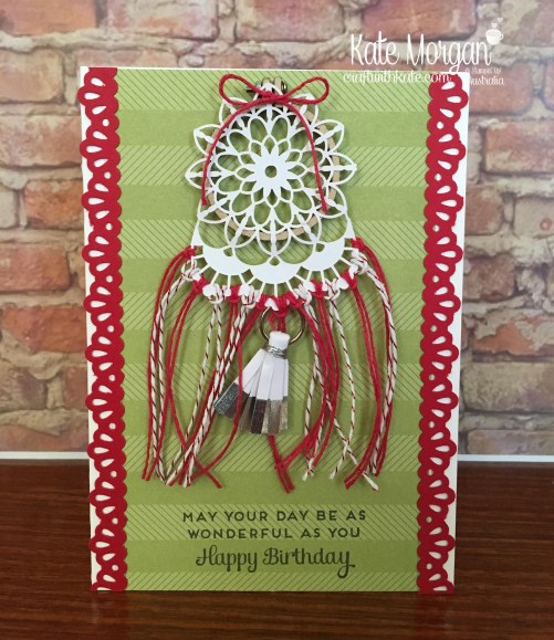 Dream Catcher card using Stampin Up Embroidery Hoop & Cake Soiree by Kate Morgan, Craft with Kate Australia