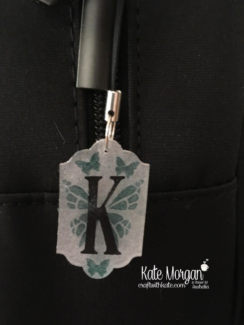 Shrink plastic Monogram tag for Stamparatus storage using Stampin Up Large Letters, You Move Me by Kate Morgan, Craft with Kate, Australia