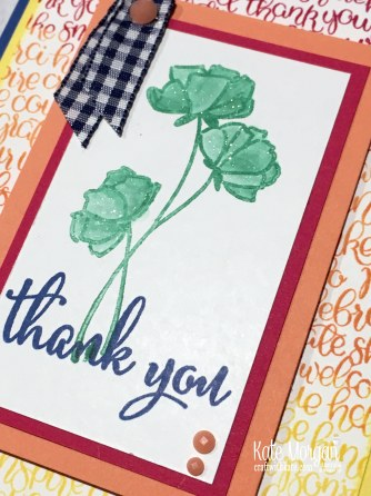 2018 In Color Blog Hop Handwritten Love What You Do Thank You card Stampin Up Annual catalogue by Kate Morgan Australia.