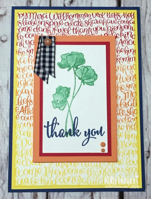 2018 In Color Blog Hop Handwritten Love What You Do Thank You card Stampin Up Annual catalogue by Kate Morgan Australia