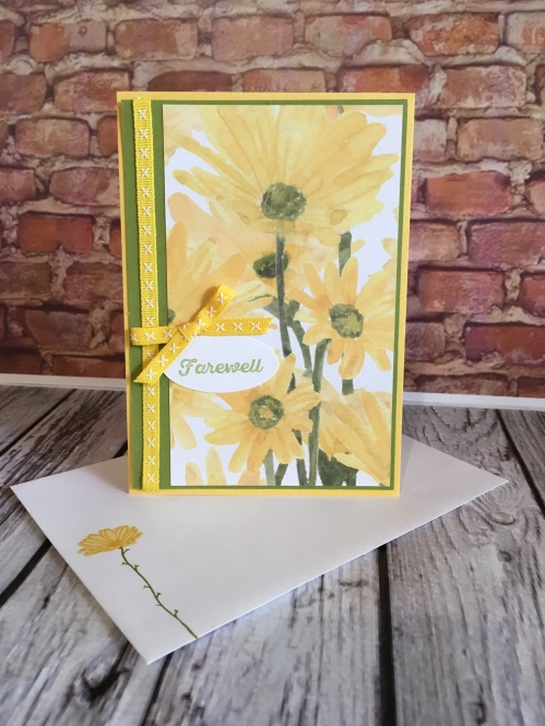 Delightful Daisy DSP Stampin Up Farewell card by Kate Morgan, Australia.